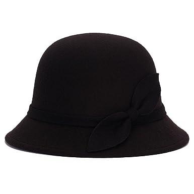 3e61ef3ce Pierre LaMarreDS Ladies Fashion Bowknot Winter Hat Formal Wedding Fedora  Bowler Cap