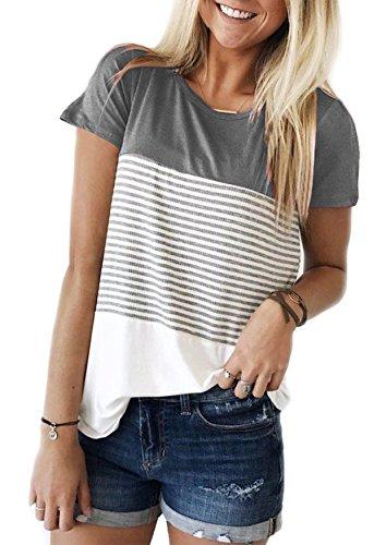 Yidarton Damen Sommer T-Shirt Casual Streifen Patchwork Kurzarm Oberteil Tops Bluse Shirt