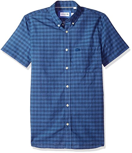Lacoste Men's Short Sleeve Cotten/Linen Checked Button Down Collar Slim Woven Shirt, CH5008, Marino, Large