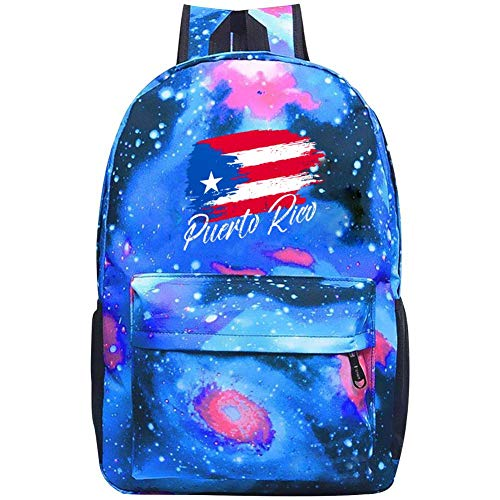 Puerto Rico Map Flag Backpacks, GCASST Galaxy School Bags for Teens Girls Boys Kids, Laptop Backpack, Unisex Casual Bag
