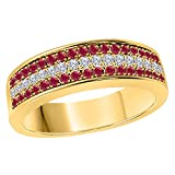 DreamJewels 6MM 14K Yellow Gold FN Alloy 0.50CT Red Ruby & White Cz Diamond Ring 3 Row Pave Men's Hip Hop Anniversary Wedding Band Ring Size All Available