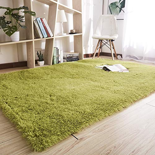 Noahas Super Soft 4.5cm Thick Modern Shag Area Rugs Fluffy Living Room Carpet Comfy Bedroom Home Decorate Floor Kids Playing Mat 4 Feet by 5.3 Feet (Green) (Green Shag Rug)