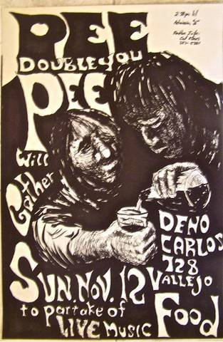 VINTAGE 1960'S CONCERT POSTER - PEE DOUBLE YOU PEE - GERMAN EXPRESSIONIST ART