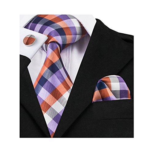 New Silk Mens Necktie Tie (Barry.Wang New Design Plaid Necktie Set for Men,Purple Orange,One Size)
