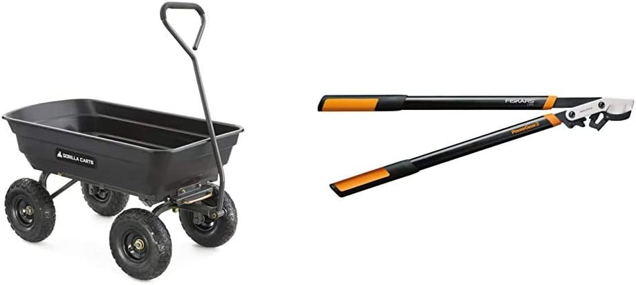 Gorilla Carts GOR4PS Poly Garden Dump Cart with Steel Frame and 10-in. Pneumatic Tires, 600-Pound Capacity, Black & Fiskars 394801-1003 PowerGear2 Bypass Lopper, 32 Inch, Black/Orange