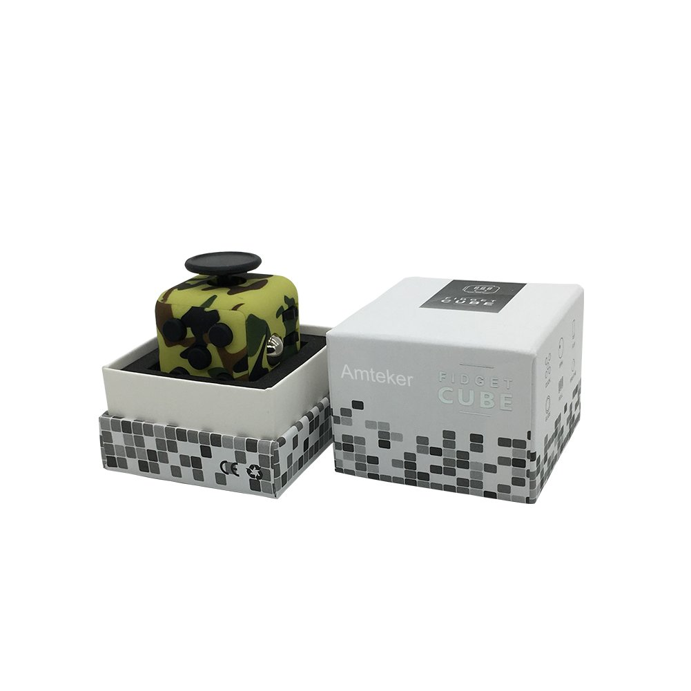 Amteker Fidget Cube Toy Anxiety Attention Stress Relief, and Break Nervous Habits for Children and Adults (Camo Green)