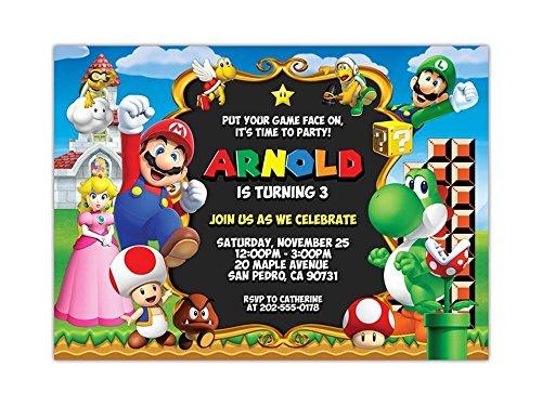 Super Mario Birthday Party Invitations ANY AGE Custom -