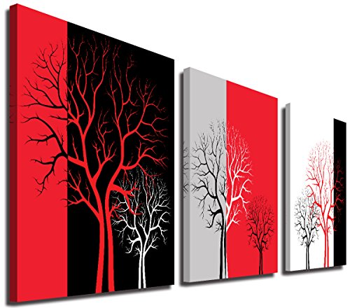 Mon Black and White Canvas Print Wall Art Abstract Red Tree Forest Picture Photo for Living Room Bedroom Bathroom Modern Minimalism Office Contemporary Decoration Home Decor Artwork,Framed,16x16x3P