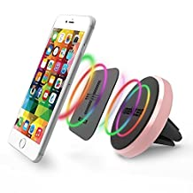 iBenzer Basic MagOn One Touch CellPhone Metal Air Vent Magnetic Universal Car Mount Holder for All Smartphones, iPhone 6/6S/Plus Samsung Galaxy Note HTC LG Sony Nokia Motorola (Rose Gold CA-CMHAV02MPK)