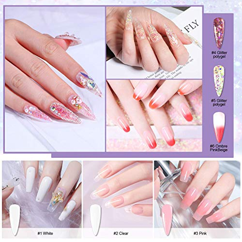 Morovan Poly Extension Gel Nail Kit With Temperature Color/Glitter Extension Gel and Mini Nail Lamp Slip Solution All-in-one French Complete Builder Gel for Beginner