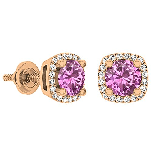 - Dazzlingrock Collection 14K 5 MM Each Round Pink Sapphire & White Diamond Ladies Halo Stud Earrings, Rose Gold