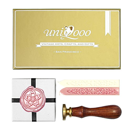 UNIQOOO Arts & Crafts Vintage Japanese Sakura (Cherry Blossom) Wax Seal Stamp Kit- Pink & White Wax Sticks with Wicks- Exceptional Gift Idea for Artistic Types and Everyone - Dragon Cord Carved