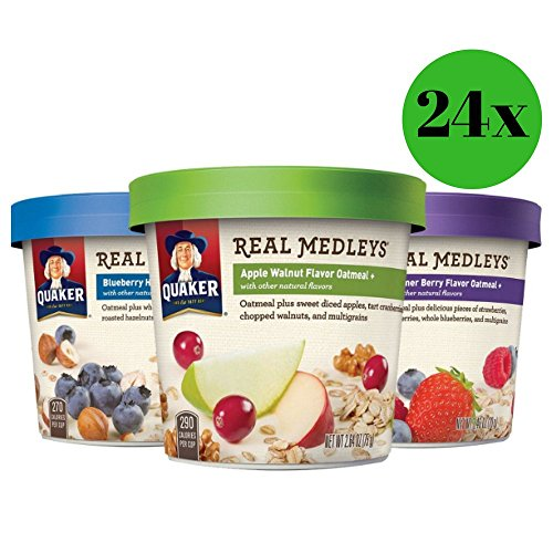 Quaker Real Medleys Instant Oatmeal Variety Pack Breakfast Cereal 12 Ct (Pack of 2) by Quaker