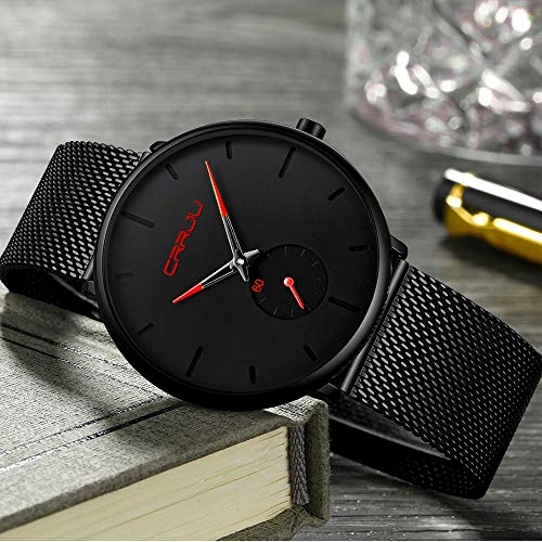 Mens Watch Deep Blue/Black Ultra Thin Wrist Watches for Men Fashion Waterproof Dress Stainless Steel Band