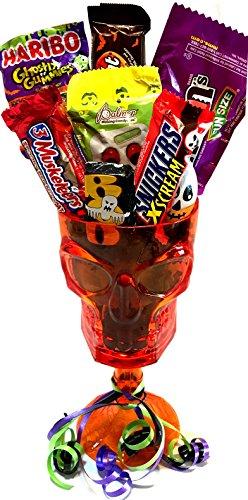 Halloween Halloween Wine Glass - Halloween Beer Glass - WITH Halloween Treats - Halloween Gift For Adults! (Wine - Skull)
