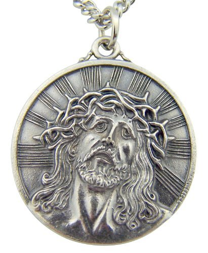 CB Silver Toned Base Thorn Crown Ecce Homo Sorrowful Jesus Christ Head Medal, 1 1/8 ()