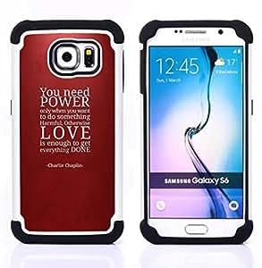 """Pulsar ( Poder cita del amor Rojo del marrón de texto"""" ) Samsung Galaxy S6 / SM-G920 SM-G920 híbrida Heavy Duty Impact pesado deber de protección a los choques caso Carcasa de parachoques"""