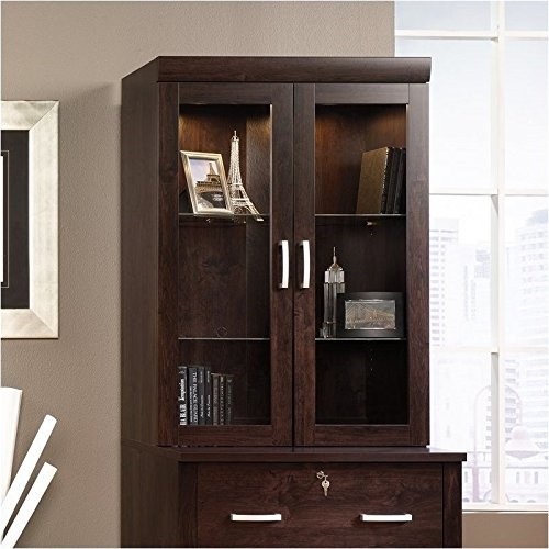 Sauder Office Port Hutch in Dark Alder