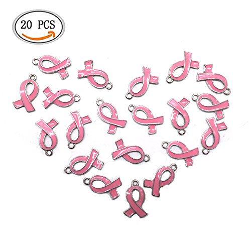 IDS 20PCS Pink Ribbon Pendants Breast Cancer Awareness Charms Beads Dangle Pendant accessories