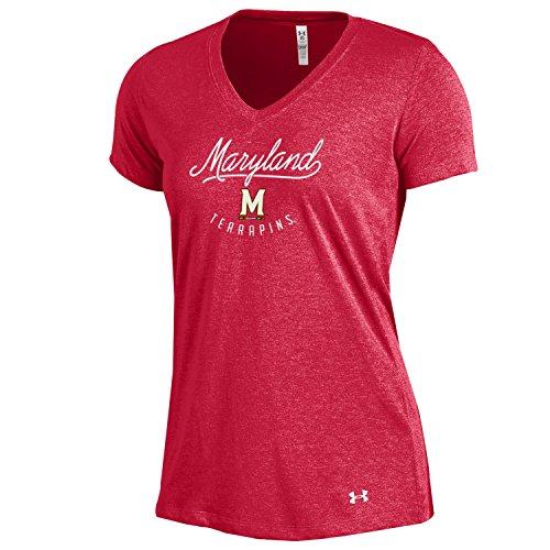 Under Armour NCAA Maryland Terrapins Women's Threadborne V-Neck, Large, Red