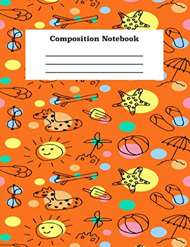Composition Notebook: College Ruled Blank Line Orange Cover Journal For Boys and Girls -