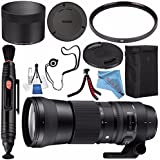 Sigma 150-600mm f/5-6.3 DG OS HSM Contemporary Lens for Canon EF #745101 + 95mm UV Filter + Lens Pen Cleaner + Fibercloth + Lens Capkeeper + Deluxe Cleaning Kit + Flexible Tripod Bundle