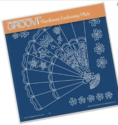 - Groovi Parchment Embossing Plate - Fan A5 - Laser Etched Acrylic for Parchment Craft
