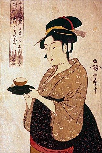 Japanese Teahouse Maid Nokita Of Anaiwaya Woodblock Print By Kitagawa Utamaro 18Th Century Poster Print by (24 x 36)