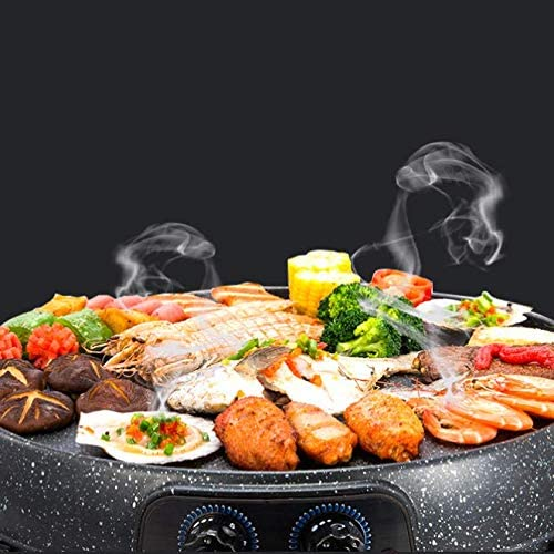 Grill Elettrico Portatile, Grill Elettrico Barbecue Piatto Caldo Coperta Scaldavivande Grande capacità Casa Multifunzione Padella Antiaderente Cucina Elettrica,1 1
