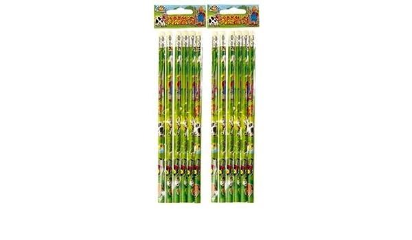 Playwrite 12 lápices de Granja con Gomas de borrar en la ...