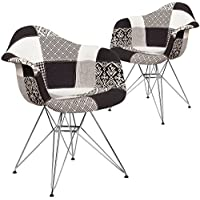 Flash Furniture 2 Pk. Alonza Series Turin Patchwork Fabric Chair with Chrome Base