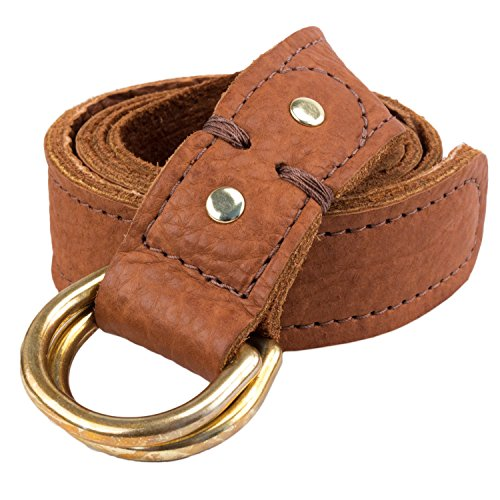 Soft Flexible Handmade Bison Buffalo D-Ring Leather Belt (Large (38/40), Brown)