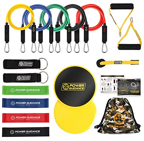 POWER GUIDANCE 18 Pcs Resistance Bands Set, Stretch Training Set with 5 Exercise Bands, Resistance Loop Bands, Foam Handles, 2 Core Sliders, Door Anchor, Ankle Straps and Carry Bag