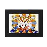 Casino Dice Chips Poker Illustration Desktop Photo Frame Black Picture Art Painting 5x7 inch