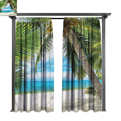 cobeDecor Thermal Insulated Drapes Ocean Shadow Shade of Palms for Lawn & Garden, Water & Wind Proof W72 xL84 -
