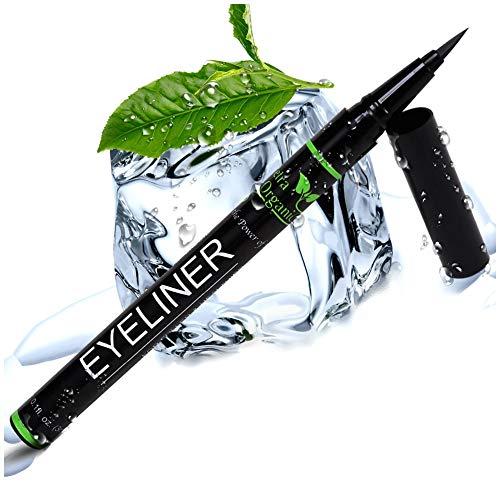Eyeliner Liquid Pen with Castor Oil for Eyelash Growth - Waterproof Eyeliner Tip Liquid Brush for Perfect Eyes and Long Lashes - Jet Black Liquid Eyeliner