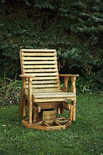 (Pine Wood Roll Back Swivel Outdoor Glider Chair (Natural))