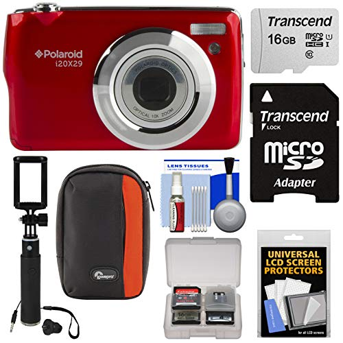 Polaroid i20X29 Digital Camera (Red) with 16GB Card + Case + Selfi Stick + Kit