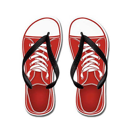 Cafepress Rode Sneaker - Flip Flops, Grappige Leren Sandalen, Strand Sandalen Zwart