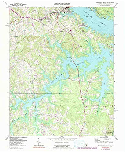YellowMaps Clarksville South VA topo map, 1:24000 Scale, 7.5 X 7.5 Minute, Historical, 1968, Updated 1991, 26.9 x 22 in - Paper