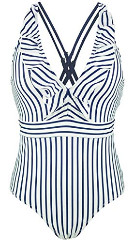 COCOSHIP Navy Blue & White Stripe Women