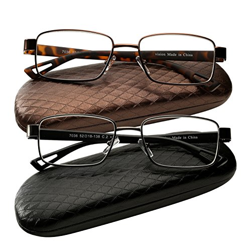 Success Eyewear 2 Pair Reading Glasses Metal Rim Readers with Case for Men and Women Glasses for Reading +1.75