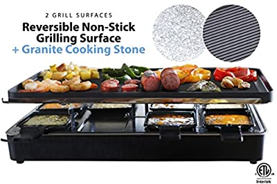 Milliard Raclette Grill for Eight People, Includes Granite Cooking Stone, Reversible Non-Stick Grilling Surface, and 8 Paddles - Great for a Family Get Together or Party