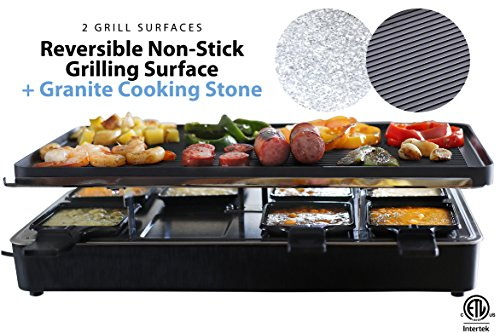 Milliard Raclette Grill for Eight People, Includes Granite Cooking Stone, Reversible Non-Stick Grilling Surface, and 8 Paddles - Great for a Family Get Together or Party Pit Grill