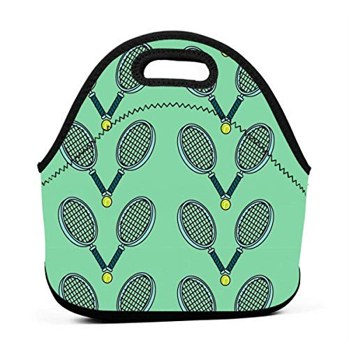Lunch Bag Leakproof Neoprene Insulated Tennis Ball And Racket Reusable Thermal Lunch Cooler Tote Lunch Box for Boys Men Women Adult Kids for school Work Outdoor