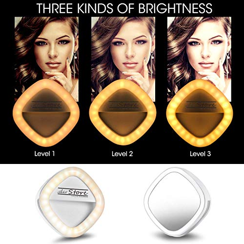 Selfie Ring Light Rechargeable Clip on 54 LED Continuous Work for 2 Hours Flash Lamp Clip Fill Light with Makeup Mirror for iPhone Camera iPad Laptop Photography, Power Bank Function (White) ()