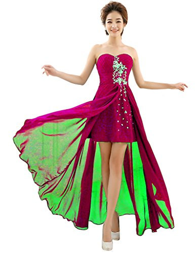 Besswedding Sexy Longue Robes De Bal Soirée De Mariage En Mousseline De Soie Perles Fuschia Femmes