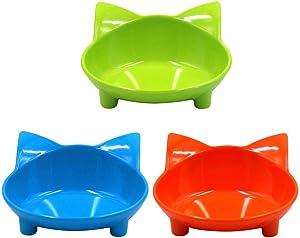 WXLAA Cat Bowls, Anti-Slip Multi-Purpose Pet Feeding Bowl Shallow Wide Flat Cat Food Water Bowls Dishes, Set of 3