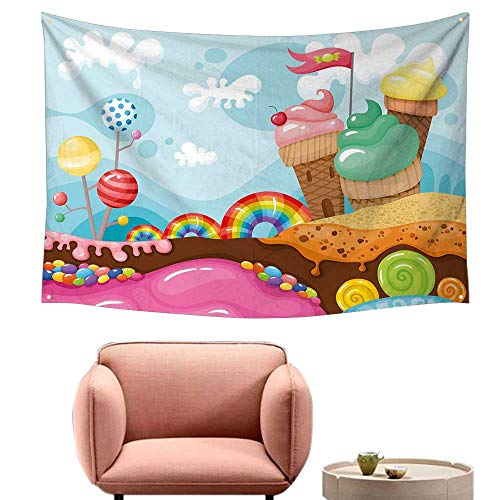 Agoza Fashion Tapestry Ice Cream Decor Dessert Land with Rainbow Candies Lollipop Trees Cupcake Mountains Cartoon Stylish Minimalist Fresh Style 71