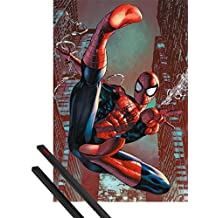 Poster + Hanger: Spider-Man Poster (36x24 inches) Web Sling And 1 Set Of Black 1art1® Poster Hangers
